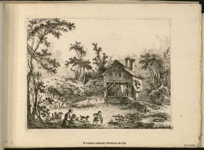 [Le Moulin Joly (Gentile Mulino) vu de la rivière avec couple enfant et chien sur la berge]