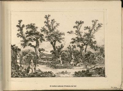 [Barque avec trois personnages sur une rivière et femme lavant sur la berge avec enfant]