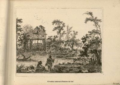 [Le Moulin Joly (Gentile Mulino) vu de la rivière avec pêcheur, homme allongé et homme assis sur la berge]