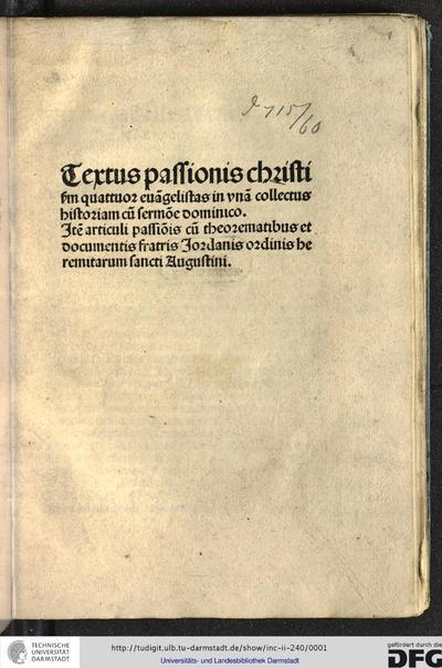 Image from object titled Textus passionis Christi secundum quattuor evangelistas in unam collectus historiam cum sermone dominico