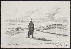 La sentinelle devant la mer. Coxyde. 1917