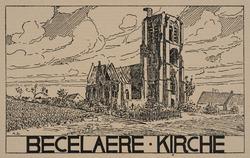 Becelaere - Kirche (ruines, guerre 1914-1918). Cliché d'après un dessin par Anton Schütz