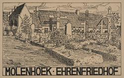 Molenhoek - Ehrenfriedhof. (Guerre 1914-1918). Cliché d'après un dessin par Anton Schütz