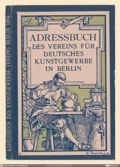 Adressbuch Des Vereins Für Deutsches Kunstgewerbe In Berlin