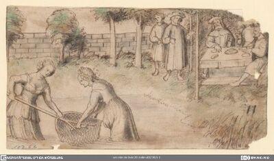 König Karl der Siegreiche speist im Garten des Neri degli Uberti