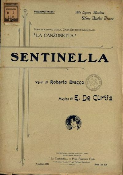 Sentinella  / versi di Roberto Bracco  ; musica di Ernesto De Curtis