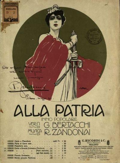 Alla Patria  : Inno popolare  : per canto e grande orchestra  / Versi di G. Bertacchi  ; Musica di R. Zandonai