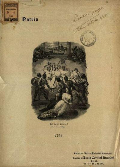 Alla patria  : Op. 15  / musica di Lucia Contini Anselmi  ; parole di Maria Spinelli Monticelli