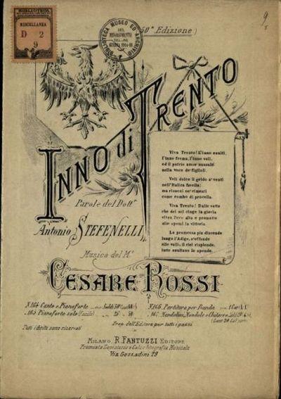 Image from object titled Inno di Trento  / parole di Antonio Stefenelli : musica di Cesare Rossi