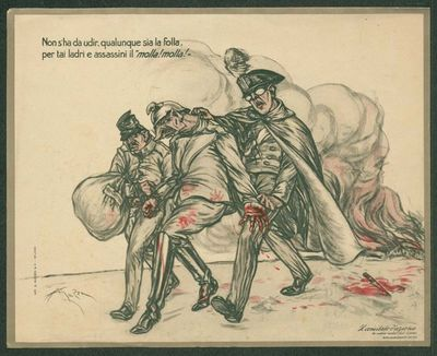 """Non s'ha da udir qualunque sia la folla per tai ladri e assassini il """"molla, molla!""""  / A. Mazza, Il comitato d'azione fra mutilati, invalidi e feriti di guerra"""