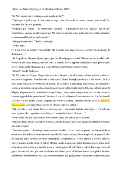 Testi Sant'Ambrogio - 2005 <br>Testo teatrale di Dario Fo.
