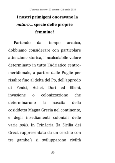 Testi L'osceno e sacro - 2010 <br>Testo di Dario Fo a cura di Franca Rame