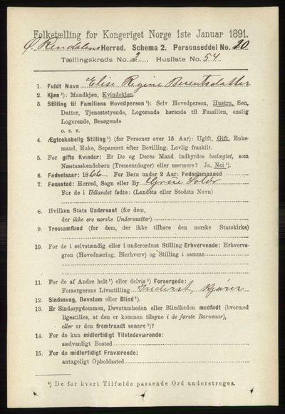 Image from object titled Folketelling 1891 - Øvre Rendal - personsedler - side 703