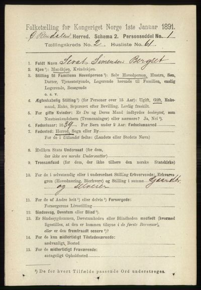 Image from object titled Folketelling 1891 - Øvre Rendal - personsedler - side 753