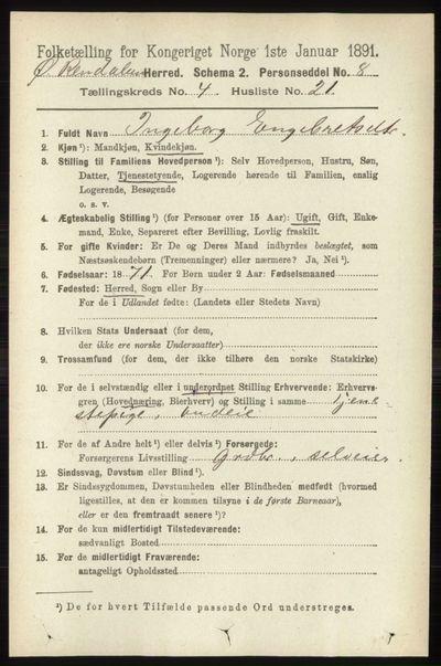 Image from object titled Folketelling 1891 - Øvre Rendal - personsedler - side 1097