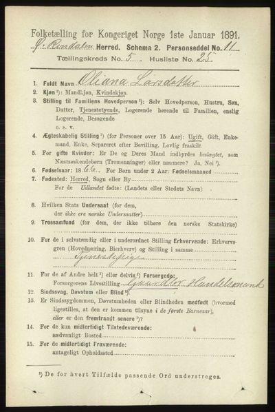Image from object titled Folketelling 1891 - Øvre Rendal - personsedler - side 1497