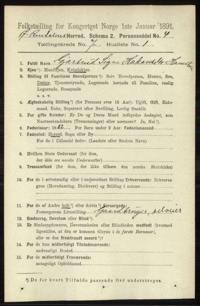 Image from object titled Folketelling 1891 - Øvre Rendal - personsedler - side 1732