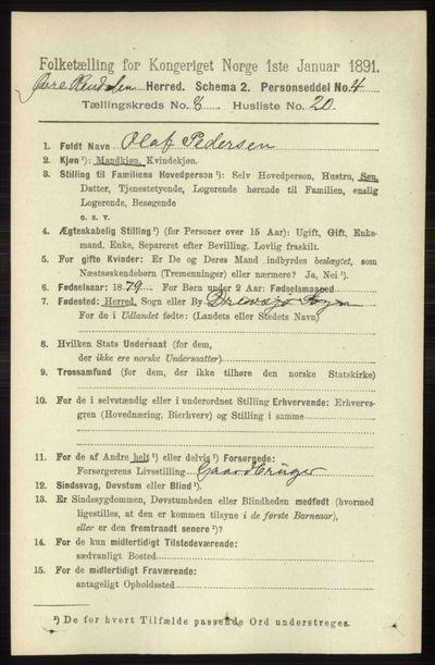 Image from object titled Folketelling 1891 - Øvre Rendal - personsedler - side 2134