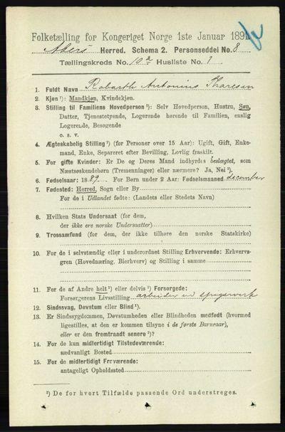Image from object titled Folketelling 1891 - Aker - personsedler - side 8852