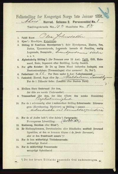 Image from object titled Folketelling 1891 - Aker - personsedler - side 8901