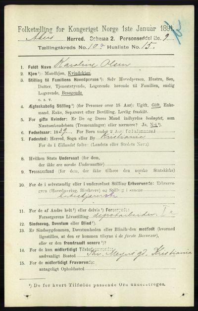 Image from object titled Folketelling 1891 - Aker - personsedler - side 9045