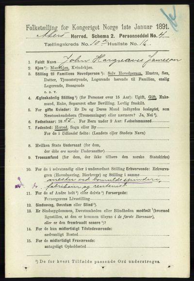 Image from object titled Folketelling 1891 - Aker - personsedler - side 9051