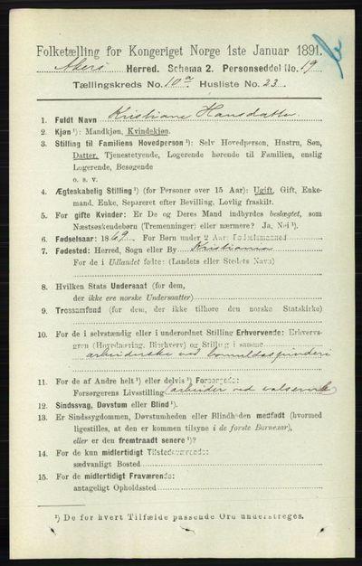 Image from object titled Folketelling 1891 - Aker - personsedler - side 9294