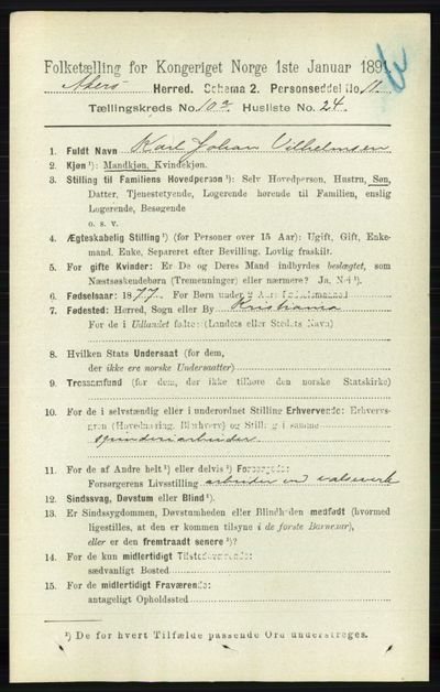 Image from object titled Folketelling 1891 - Aker - personsedler - side 9318