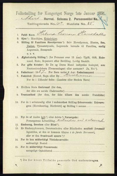 Image from object titled Folketelling 1891 - Aker - personsedler - side 9363