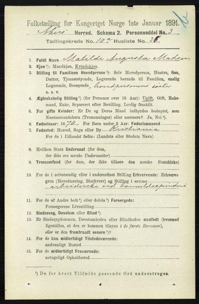 Image from object titled Folketelling 1891 - Aker - personsedler - side 9429