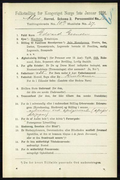 Image from object titled Folketelling 1891 - Aker - personsedler - side 9446