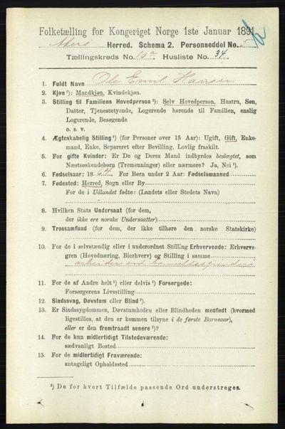 Image from object titled Folketelling 1891 - Aker - personsedler - side 9505