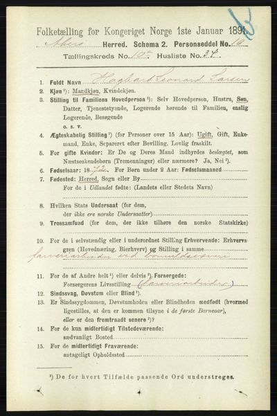 Image from object titled Folketelling 1891 - Aker - personsedler - side 9510