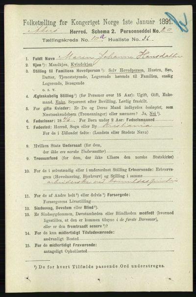 Image from object titled Folketelling 1891 - Aker - personsedler - side 9538