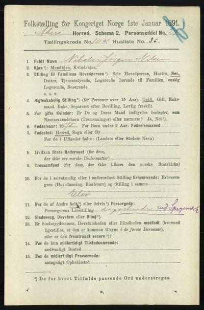 Image from object titled Folketelling 1891 - Aker - personsedler - side 9547
