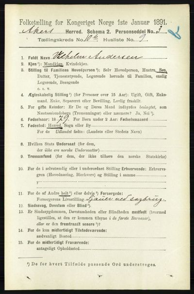 Image from object titled Folketelling 1891 - Aker - personsedler - side 9694