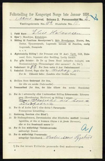 Image from object titled Folketelling 1891 - Aker - personsedler - side 9704