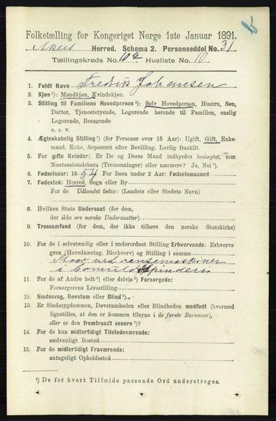 Image from object titled Folketelling 1891 - Aker - personsedler - side 9733