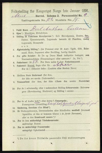 Image from object titled Folketelling 1891 - Aker - personsedler - side 9797