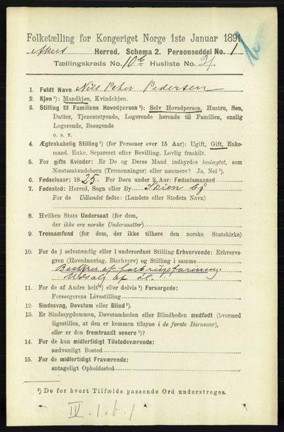 Image from object titled Folketelling 1891 - Aker - personsedler - side 9921