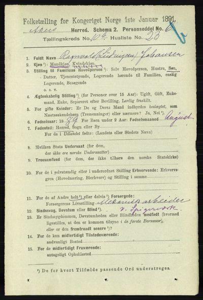 Image from object titled Folketelling 1891 - Aker - personsedler - side 9947