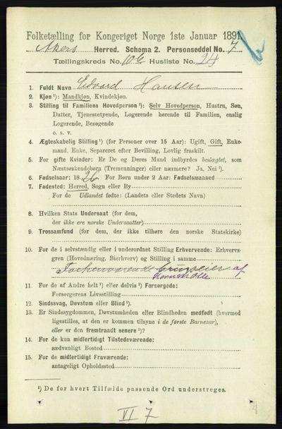Image from object titled Folketelling 1891 - Aker - personsedler - side 9974