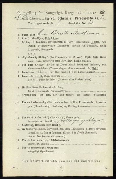 Image from object titled Folketelling 1891 - Nord-Odal - personsedler - side 3694