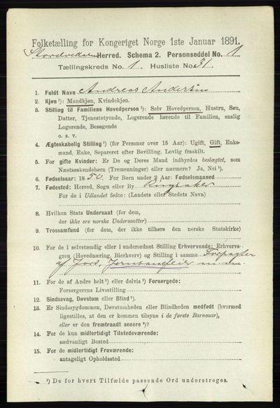 Image from object titled Folketelling 1891 - Stor-Elvdal - personsedler - side 261