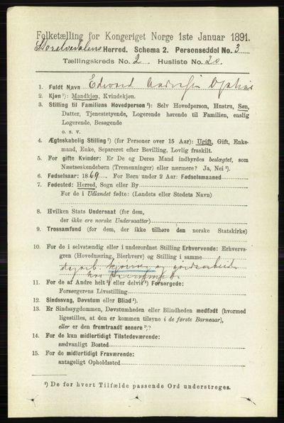 Image from object titled Folketelling 1891 - Stor-Elvdal - personsedler - side 527