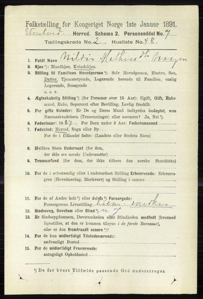 Image from object titled Folketelling 1891 - Stor-Elvdal - personsedler - side 720