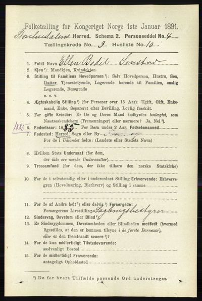 Image from object titled Folketelling 1891 - Stor-Elvdal - personsedler - side 910