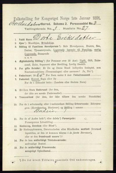 Image from object titled Folketelling 1891 - Stor-Elvdal - personsedler - side 1048