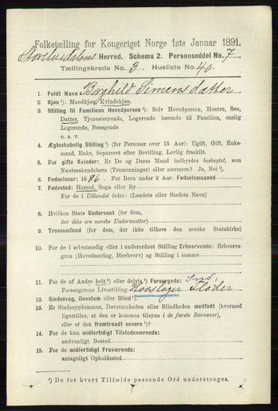 Image from object titled Folketelling 1891 - Stor-Elvdal - personsedler - side 1121
