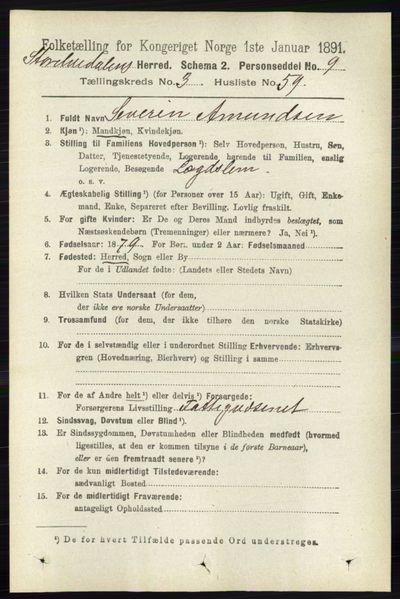 Image from object titled Folketelling 1891 - Stor-Elvdal - personsedler - side 1263